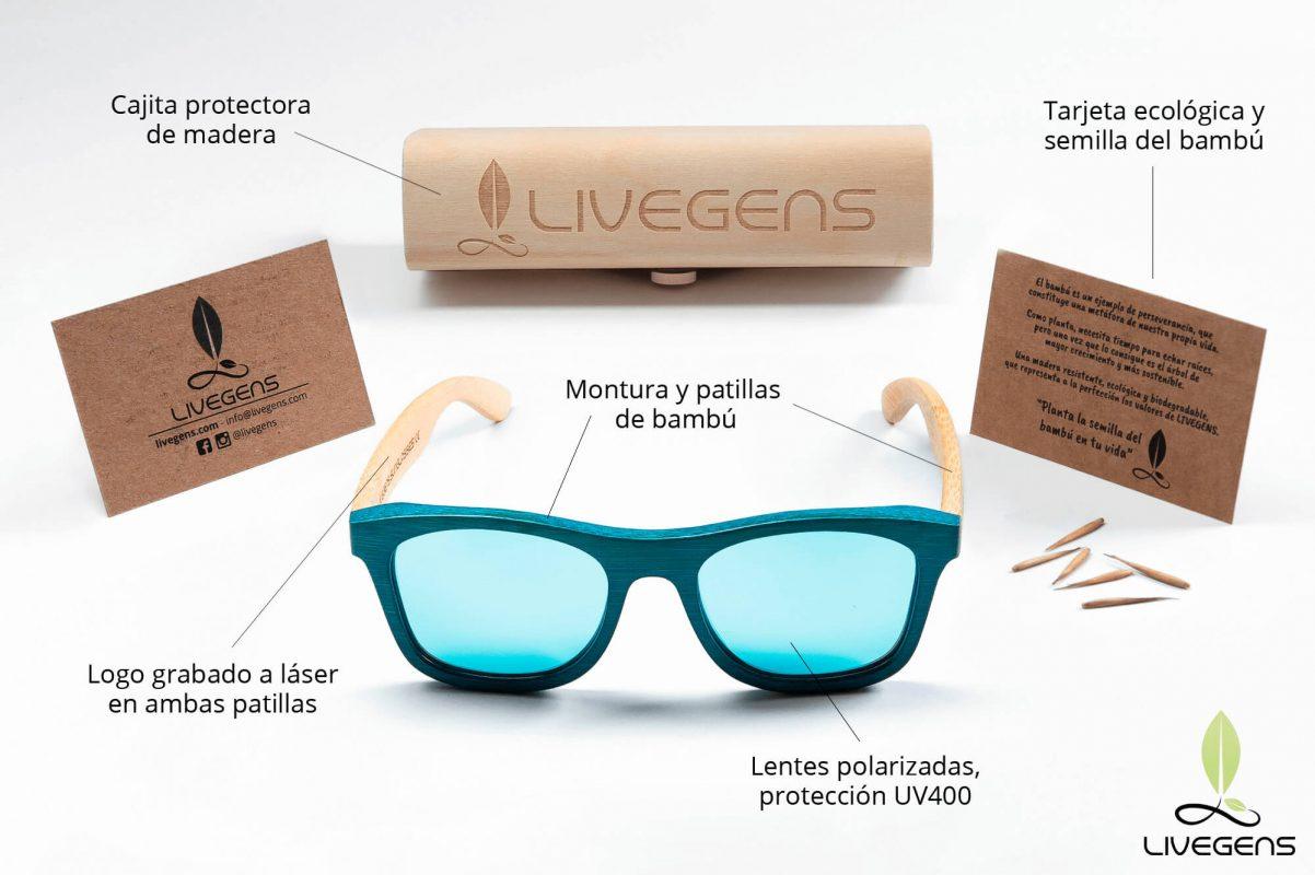 gafas de madera de bambu